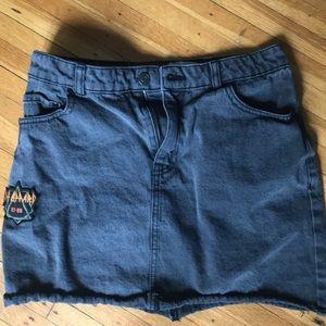 Gray jean juniors mini skirt